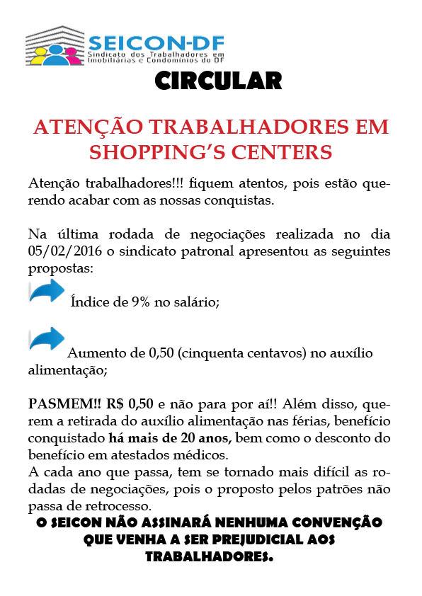 Atenção trabalhadores em Shoppings