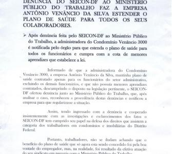 Denúncia do Seicon-DF ao Ministério Público do Trabalho faz a empresa Venâncio 3.000 estender plano de saúde para todos os seus colaboradores